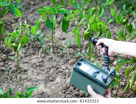 Measuring radiation levels of green peppers