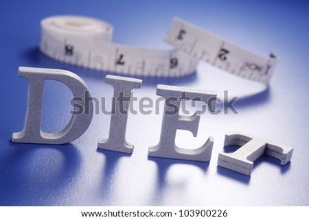 measuring tape and the diet word