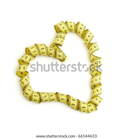 Measuring tape looking as heart isolated over white background
