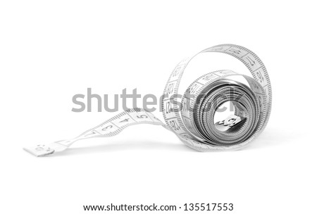 Measuring tape of the tailor for you design isolated on white