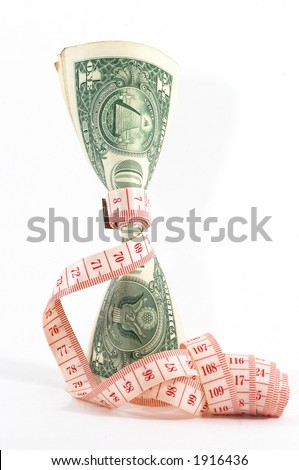 Measuring tape over money, budgeting, measure money, tight budget. Money upright. Could also signify expensive slimming treatment.