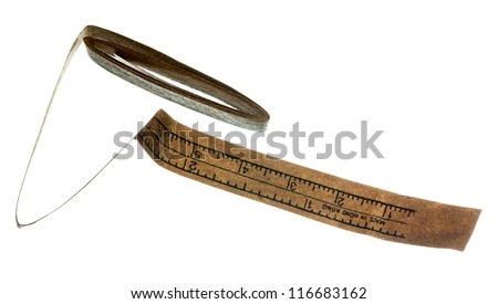 Measuring tape with inches and centimeters made of paper
