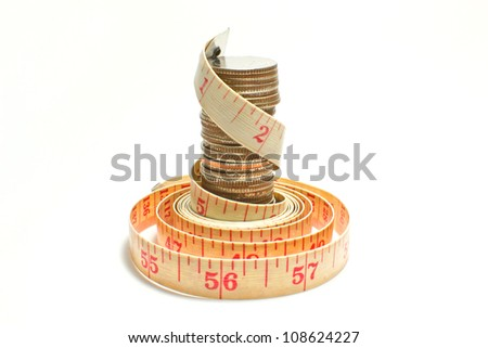 Measuring Tape wrap a coins