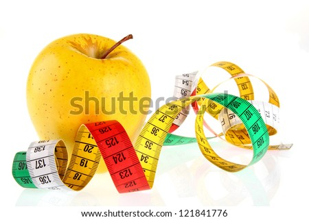 Measuring tape wrapped around a apple as a symbol of diet.