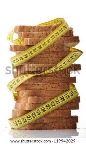 Measuring tape wrapped around stack of slices of bread