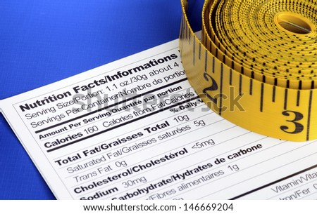 Measuring tapes on the Nutrition Facts concept of healthy dining