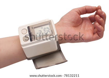 Measuring the Blood Pressure - Female Hand isolated on white - with clipping path