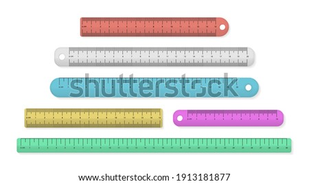 Measuring tool. Ruler in centimeters and millimeters. Set of colorful plastic measuring rulers isolated on a white background. Stationery tools.  Stok fotoğraf ©