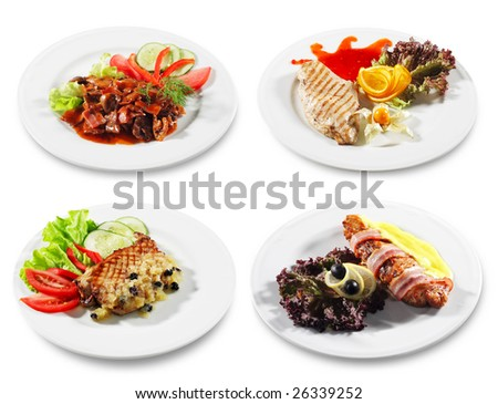 Meat and Fish Plate Isolated on White Background