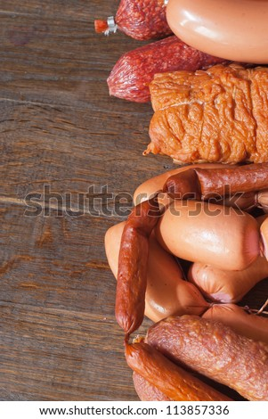 Meat and sausage .