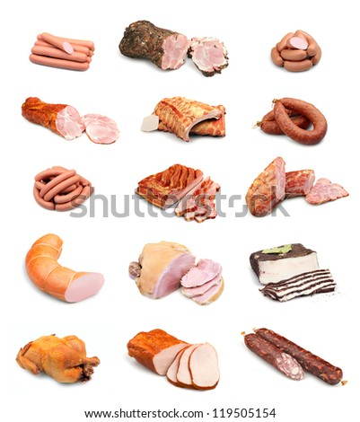 Meat and sausage collection isolated on white background