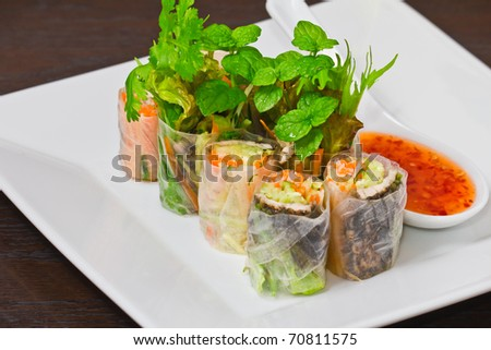 Meat and Vegetable rice paper rolls - stock photo