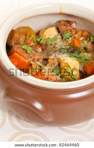 meat and vegetables in the pot