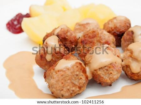 Meat Balls With Potatoes and Lingonberry Jam