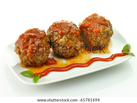 meat balls with tomato sauce on white dish
