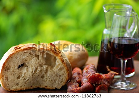Meat bread and wine, manufacture caretaker, region alentejo, Portugal.