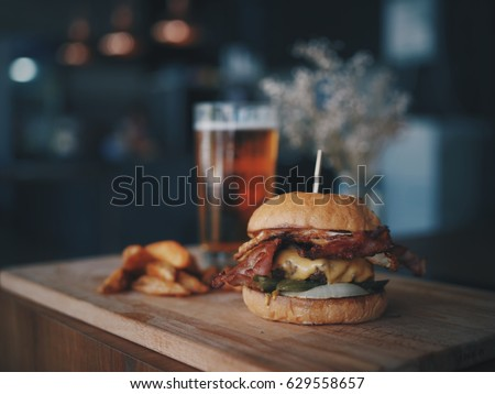Meat burger in cafe