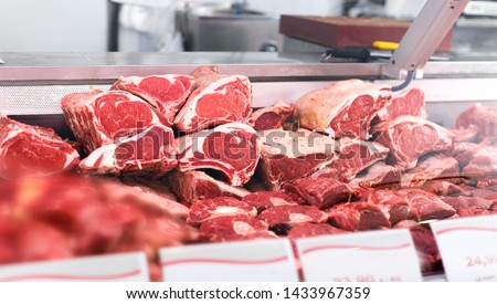 Meat displayed for sale in butcher's shop Stock fotó ©