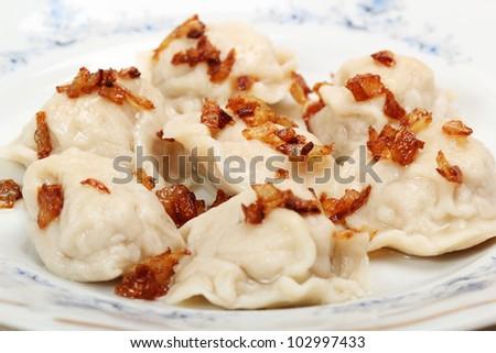 Meat Dumplings with fried onion