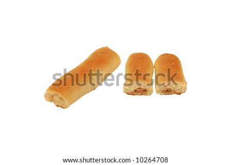 meat filled pastry roll cut isolated over white background