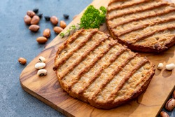 Meat free grilled vegan steakes, healthy food concept close up