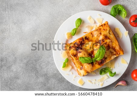 Meat lasagna with fresh basil and parmesan cheese in a plate on gray concrete background. top view with copy space. italian food.