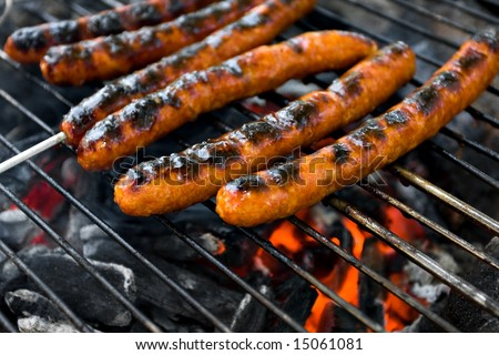 Meat on grill above campfire - Merguez sausages - stock photo