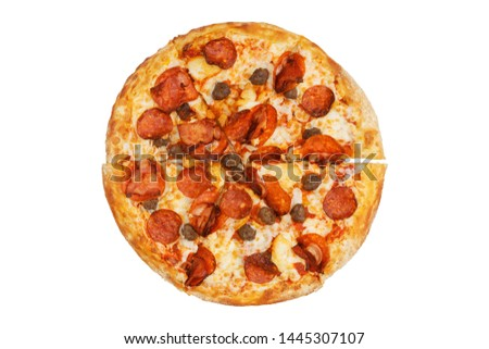 Meat pizza with pepperoni, beef meatballs, chicken pieces and bacon. Top view. Isolated on white. #1445307107