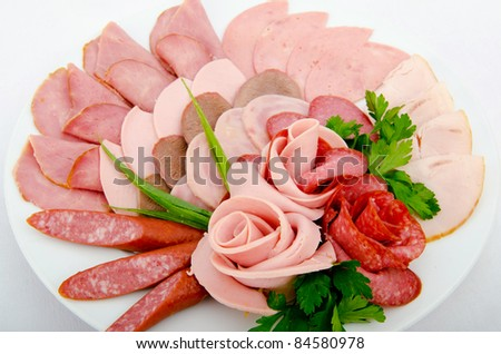 Meat platter with selection - stock photo