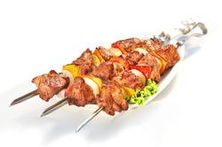 meat pork kebab isolated on white background