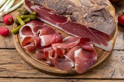 meat pork traditional speck rustic background
