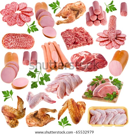 Meat products collection set,  isolated on white background