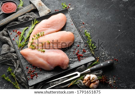 Meat. Raw chicken fillet with spices. Top view. Rustic style. Сток-фото ©