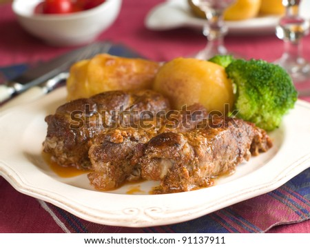 Meat rolls with potato and broccoli. Selective focus