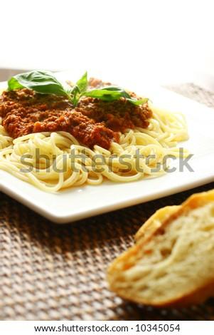 Meat sauce spaghetti - stock photo