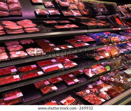 Meat section in supermarket