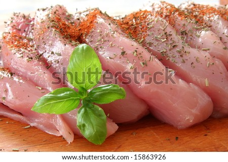meat slices prepared for cooking