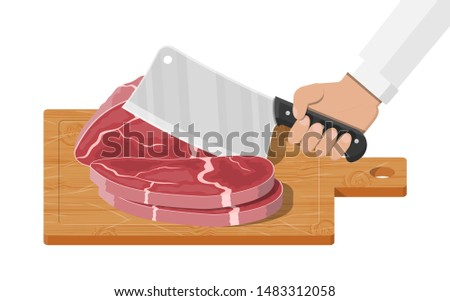 Meat steak chopped on wooden board with kitchen knife. Cutting board, butcher cleaver and piace of meat. Utensils, household cutlery. Cooking, domestic kitchenware. illustration in flat style Stock fotó ©