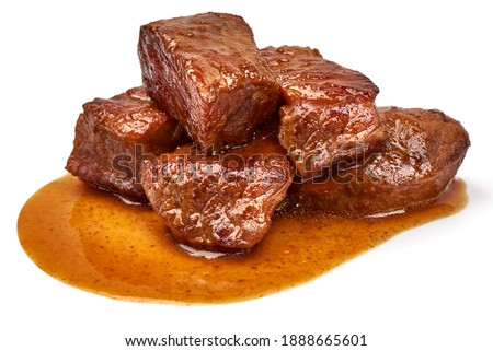 Meat stew, goulash with sauce, isolated on white background. Foto stock ©