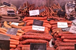 Meat store in Gothenburg Market Hall (Saluhallen), Sweden. Various smoked sausages: Hungarian salami, kabanos (cabanossi) and other Swedish delicacies.