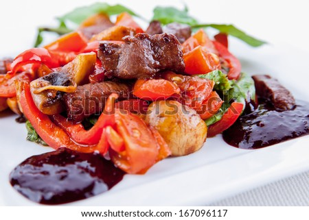 Meat with salad on a plate