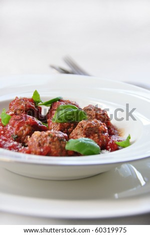 Meatball appetizer  with tomato sauce