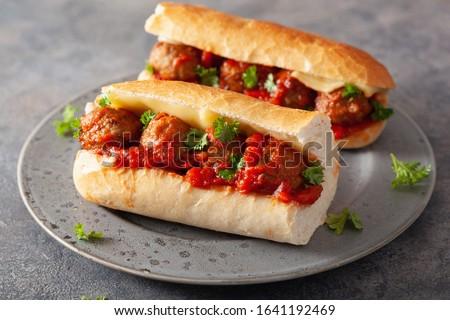 meatball sub sandwich with cheese and marinara tomato sauce. american italian fast food ストックフォト ©