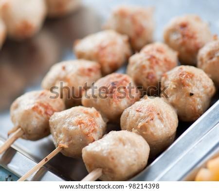 meatballs grilled, thai street food - stock photo