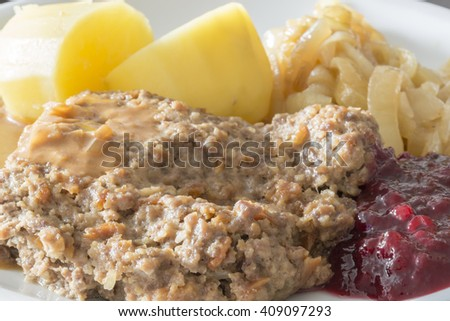 Meatloaf with Potatoes, Caramelized Onions and Lingonberry Jam #409097293