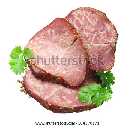 Meatloaf with slices and coriander isolated on white