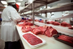 Meats of all types raw before it is packaged and shipped to stores and restaurant