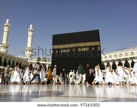 MECCA - FEB. 20 : A close up view of Muslim pilgrims circumambulate the Kaaba from ground floor of Haram Mosque Feb. 20, 2012 in Mecca. Muslims all around the world face the Kaaba during prayer time.
