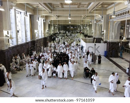 MECCA-FEB.26: Muslim pilgrims perform saei (brisk walking) from Safa mount from Marwah mount on February 26, 2012 in Mecca. Muslim pilgrims perform 7 rounds of saei from Safa mount to Marwah mount.