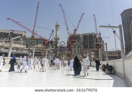 MECCA SAUDI ARABIA MAR 10 Muslims tawaf from upper mataf at Haram Mosque March 10 2015 in Makkah The mosque expansion scheduled to complete in 2 years to accommodate more pilgrims